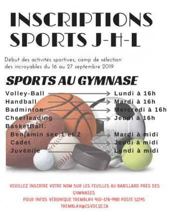 Les inscriptions pour les sports