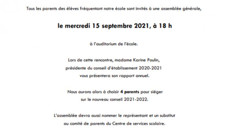Assemblée générale des parents le 15 septembre prochain à 18h.
