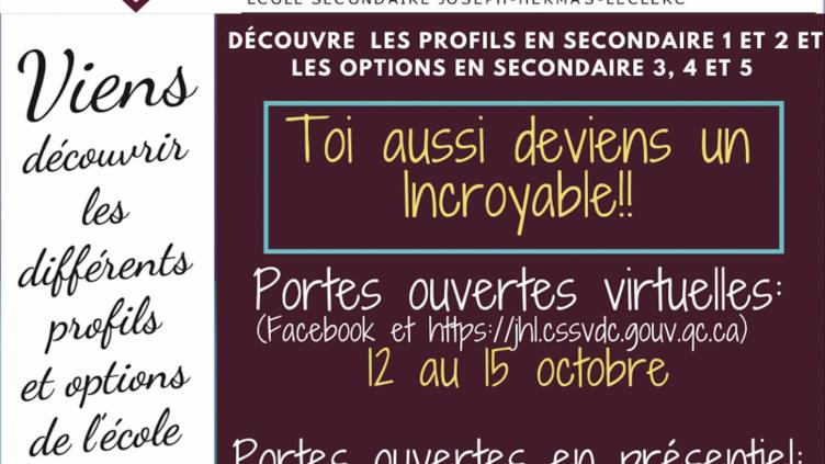 Portes ouvertes virtuelles du 12 au 15 octobre et en présentiel le mercredi 3 novembre de 17h30 à 20h00