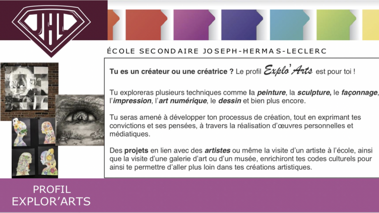 Voici le magnifique profil Explo'Arts!